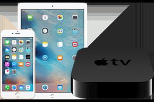 Apple iPad, iPhone, and Apple TV box