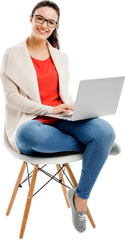 Woman sitting on a chair while using her laptop to browse the internet