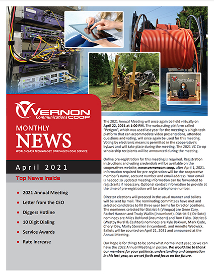 Vernon Communications Newsletter Front Page April 2021