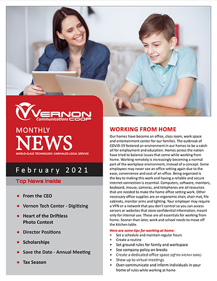 Vernon Communications Newsletter Front Page February 2021