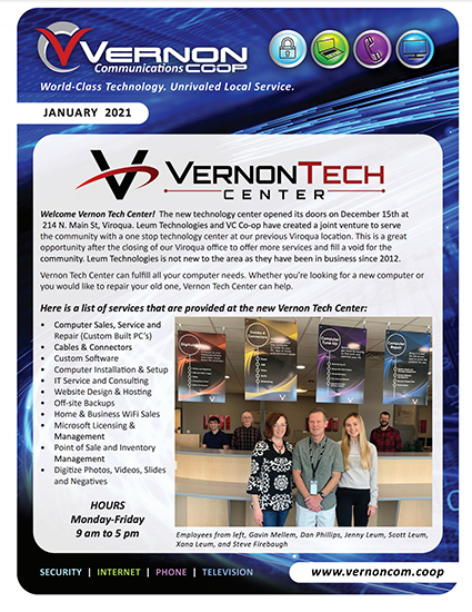 Vernon Communications Newsletter Front Page January 2021