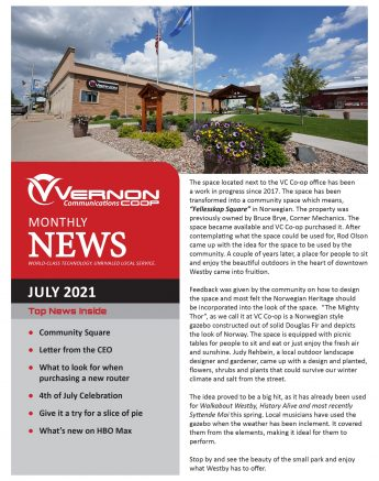 Vernon Communications Newsletter Front Page July 2021