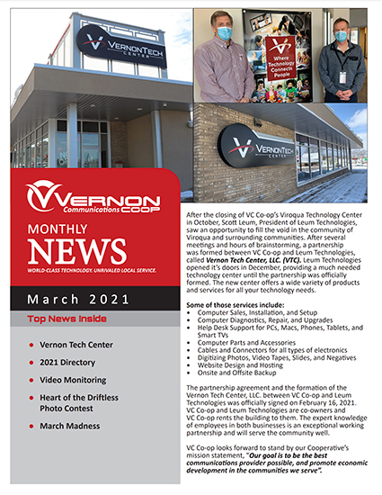 Vernon Communications Newsletter Front Page March 2021