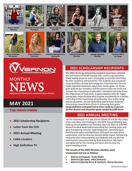 Vernon Communications Newsletter Front Page May 2021