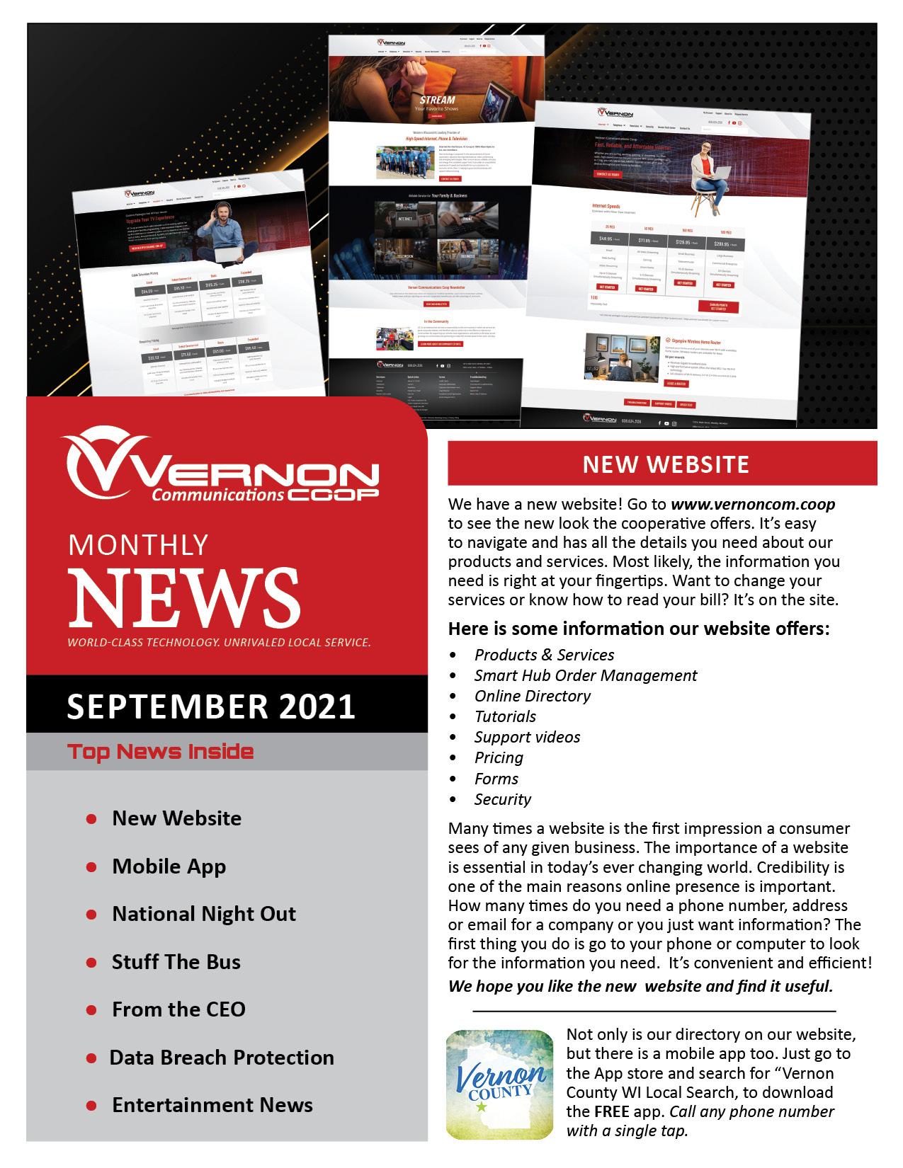 September 2021 Newsletter front pg